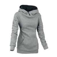 Split Joint Cotton Slim Women Hoodies