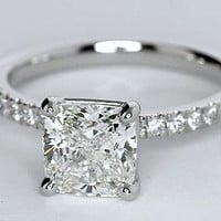1.76ct Princess Cut Diamond Engagement Ring G-VS1  JEWELFORME BLUE GIA certified