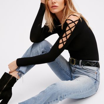 Free People Lace Up Sides Layering Top