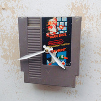 Clock, Nintendo Video Game Cartridge Clock, Mario Bros. and Duct Hunt Game, Wall Clock, Home Decor, Geekery, Video Game