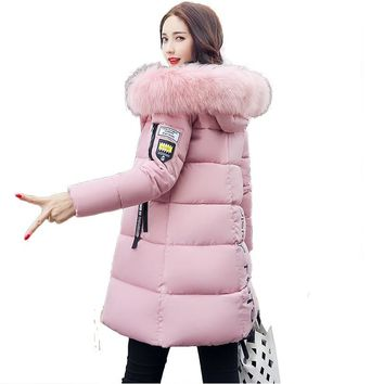 BEAUTY STEELE 2017 Winter Jacket Woman 100% Polyester Long Warm Cotton-Padded Down Parkas Coat Faux Fur Collar Hooded Jacket