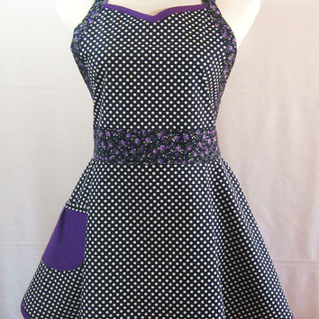 Navy Blue Polka Dot Sweetheart Apron with Purple Floral Ties and Trim, Retro Pocket, Feminine, Handmade, Cotton Fabric, One Size