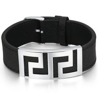 Leather and Stainless Steel Greek Key Design Belt Buckle Unisex Bracelet