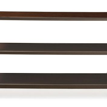 Baxton Studio Dreydon Rustic Industrial Antique Bronze Finishing Walnut Wood Occasional Console Table Set of 1