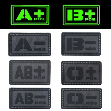 REEBOW TACTICAL 2X GREY A B O AB POS NEG Blood Type Patches PVC Noctilucent Luminous Military Emergency First Aid Morale Patches