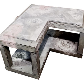 Custom Design: Distressed Painted Coffee Table, Aged in Chic Style