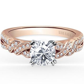Kirk Kara Rose Gold Pirouetta Split Shank Twist Diamond Engagement Ring