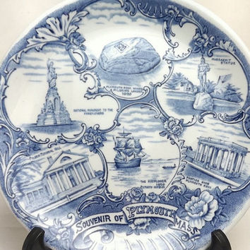 Old English Staffordshire Ware Blue & White Ironstone Plate, Alfred Meakin Jonroth England, Souvenir of Plymouth Mass, Thanksgiving Display