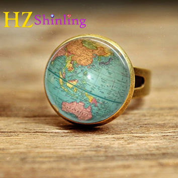 Vintage Globe Ring Planet Earth World Map Art Map Ring Free Shipping Glass Dome Ring