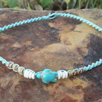 Hemp Choker, Turtle Necklace, Hemp Necklace, Handmade, Puka Shell Necklace, Turtle Jewelry, Surfer Girl, Beach Jewelry, Aqua Hemp, Gift