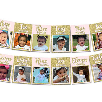 1st Birthday Photo Banner Girl - Gold Glitter 1st Birthday Banner - Pink and Gold 1st Birthday Banner - 1st Birthday Decor Photos Princess