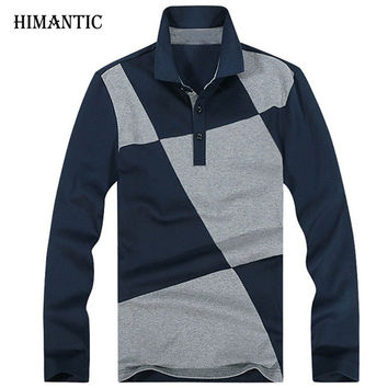 Men Long Sleeve Polo Shirt Men Casual Design lattice Stitching Polo Men Cotton Breathable Shirts Home