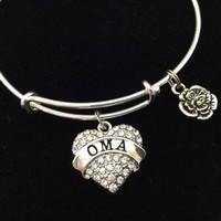 Oma Crystal Heart Charm Silver Bracelet on Expandable Adjustable Wire Bangle Grandmother Handmade Grandma Gift