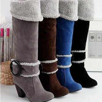New arrival 2015 high quality  fashion Snow Boots Big size 34-43 Square High Heels Knee High Winter Shoes for Women Sexy Warm Fu