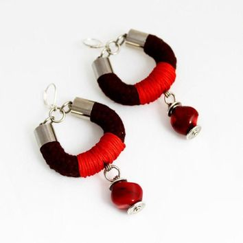 Autumnal Wrapped Rope Earrings