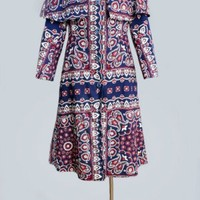 1960's Blue Paisley MOD Era Trench Coat - M VINTAGE TRENCH COATS 1960's :