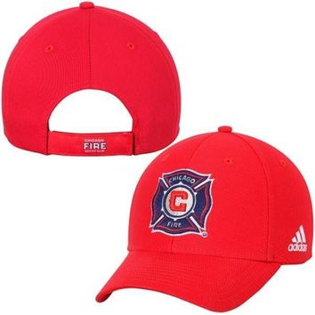 Men's Chicago Fire SC adidas Red Basic Structured Adjustable Hat