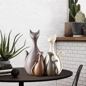 3/4pcs Nordic Modern Abstract Ceramic Cat Figurine Statues Creative Home Decoration