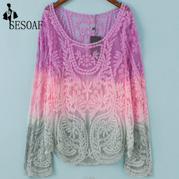 Women's Sexy Summer Hollow Out Sweater Cardigan Knitted Sweater Coat Long Sleeve Crochet Female Casual V-Neck Woman Cardigans