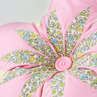 decorative pillow. Flower cushion. Shaped pillow. Soft decoration. pink and green shades.