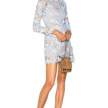 Fiona Light Blue Lace Min Dress