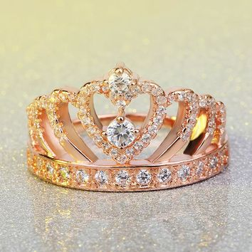New Luxury Rose Gold Princessa Crown Ring