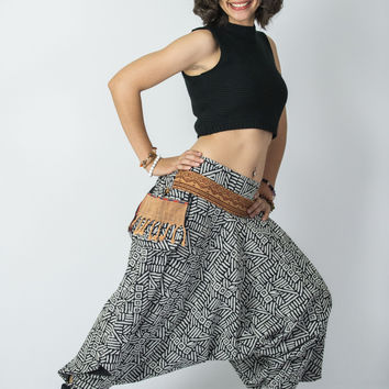 Woven Prints Thai Hill Tribe Fabric Women Harem Pants with Ankle Straps in Black