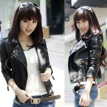 LMFUG3 Women black Slim Biker Motorcycle Faux Leather Zipper Jacket S-XXXL = 1932207172