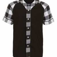 Black denim baseball short sleeve shirt - Sale Shirts - Sale - TOPMAN USA