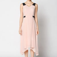 Asymmetrical Back Zipper Sleeveless V-Neck Midi Dress