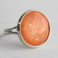 Apricot Peach Ring in Sliver - Peach Ring with Holographic Flecks