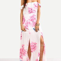 Off-The-Shoulder Multicolor Flower Print Maxi Dress -SheIn(Sheinside)