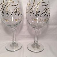 Mr. and Mrs. wine glasses personalized bride and groom wine glasses metallic gold