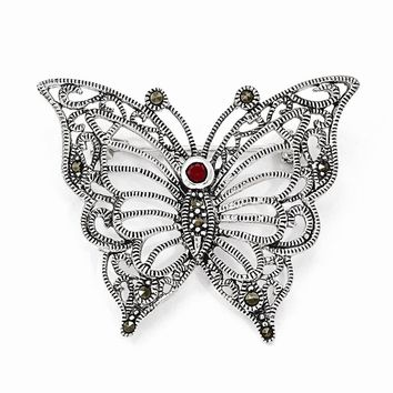 Sterling Silver Marcasite Red CZ Butterfly Pin