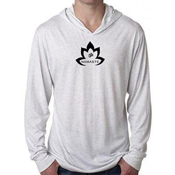 Yoga Clothing for You Mens Namaste Lotus Lightweight Hoodie Tee Shirt