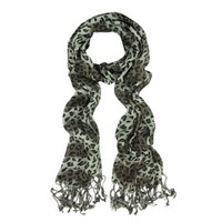 Elegant Leopard Animal Print Scarf with Fringe - Different Colors Available (Gray/Brown)