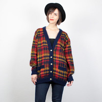 Vintage 80s Plaid Sweater Mustard Gold Red Navy Blue Plaid Oversized Cardigan Knit Jumper Preppy 1980s Mod Cosby Sweater L Extra Large XL