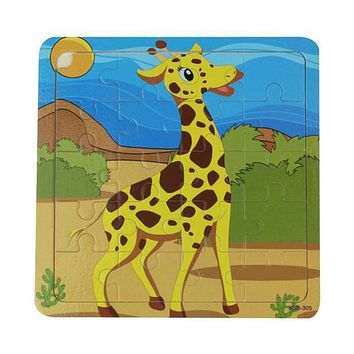 20PCS Wooden Jigsaw Puzzle Toys Cartoon Animals Jigsaw Toy Children Educational Toys for Kids Learning 3D Wooden Jigsaw Puzzle