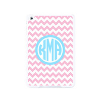 Trendy Pink And Blue Monogram Chevron iPad Mini 2 and iPad Mini Case