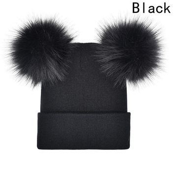 Natural Fur Ball Beanie Kids Caps Winter Baby Knit  Hat With Two Fur Pompoms Boy Girls Double Real Fur Pom Hat for Children
