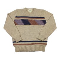 Vintage 80s Brown Acrylic Knit Sweater Mens Size Large
