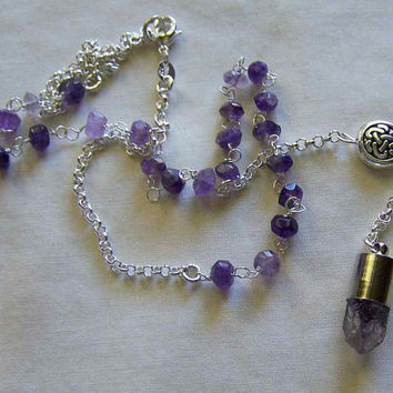 Natural Amethyst Rosary Style Silver Lavalier Necklace