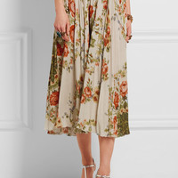 Gucci for NET-A-PORTER - Pleated floral-print silk midi skirt
