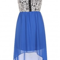 The Strap Lace Blue High Low Dress