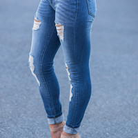 Kan Can Fun In The Sun Distressed Skinny Crop Jeans