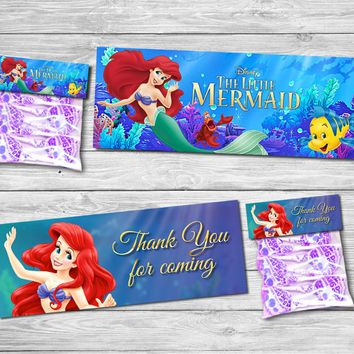 Princess Little Mermaid Bag Toppers Food Labels Baby Shower Birthday Party Decorations Kids Party Supplies Candy Bag Topper