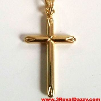 Italian Christian Cross 14k yellow gold layer over .925 Sterling Silver Pendant