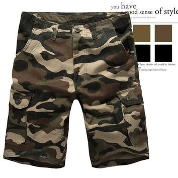 ONETOW men's casual shorts multi pocket camouflage male cargo shorts man shorts size