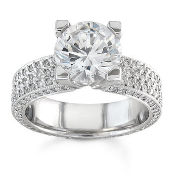 Ladies three row diamond pave engagement ring in 14kt white gold 1.00 ctw G-VS2 diamond quality with 2ct Round White Sapphire center