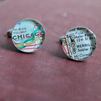 Chicago Bears Soldier Field Football Cufflinks